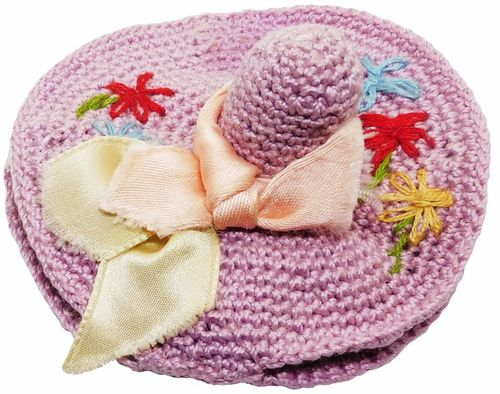 Vintage Lavender Crochet Hat Needle Book & Thimble Holder