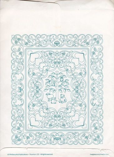 Vintage Continuous Line Lullaby Whole Cloth Crib or Wall Quilt