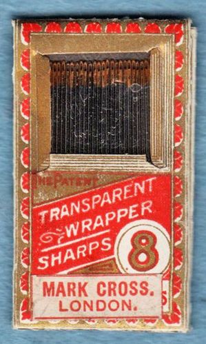 Vintage Mark Cross Sharps Hand Sewing Needles Size 8