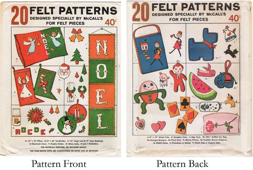 Vintage McCall's 20 Felt Patterns for Gifts & Decorations