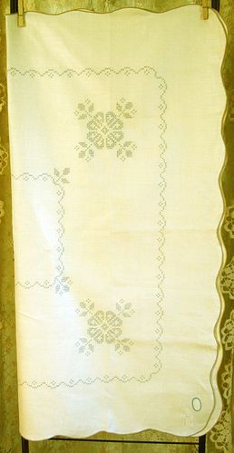 Vintage Ecru Linen Tablecloth w/ Cross Stitch Embroidery Pattern