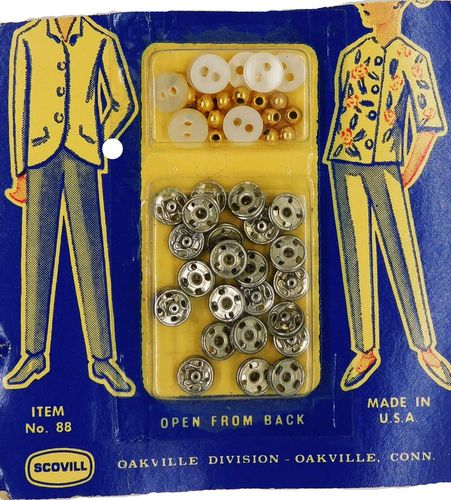 Vintage Scovill Buttons,Snaps & Beads For Dolls