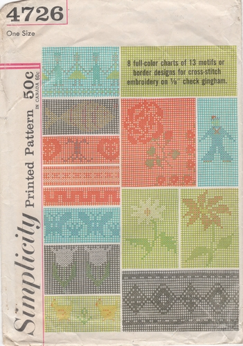 Vintage Simplicity Printed Patterns for Cross-Stitch on Gingham