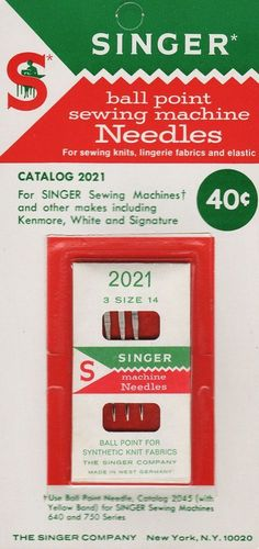 Vintage Singer Ball Point Sewing Machine Needles #2021, Size 14