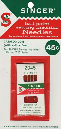 Vintage Singer Ball Point Sewing Machine Needles #2045, Size 14