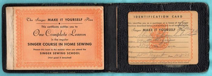 "Vintage Singer I.D. Card w/Case & ""Make It Yourself"" Coupons"