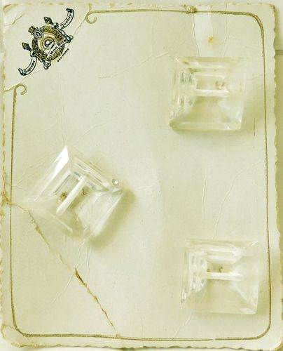3 Vintage Square Clear Lucite Buttons on Original Card