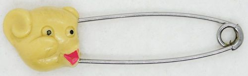 Vintage Teddy Bear Diaper Pin w/Guarded Coil