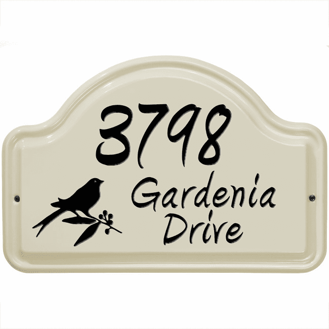 Bird Arch Three Line Standard Wall Ceramic Address Plaque