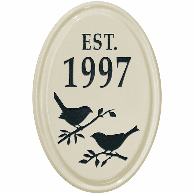 Bird Silhouette Vertical Oval Ceramic Petite Address Plaque