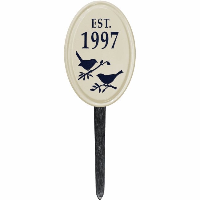 Bird Silhouette Vertical Oval Ceramic Petite Lawn Address Plaque