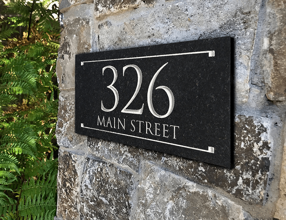 Black Granite Rectangle Trajan Engraved Address Sign 2 Line
