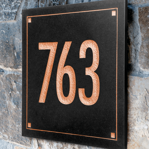 Black Granite Engraved Square 1 Line Wall Address Sign