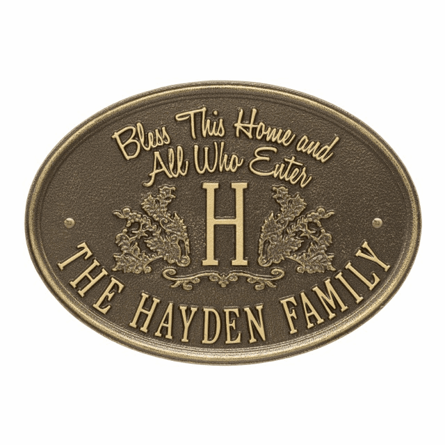Bless This Home Monogram Oval Personalized Address Plaque