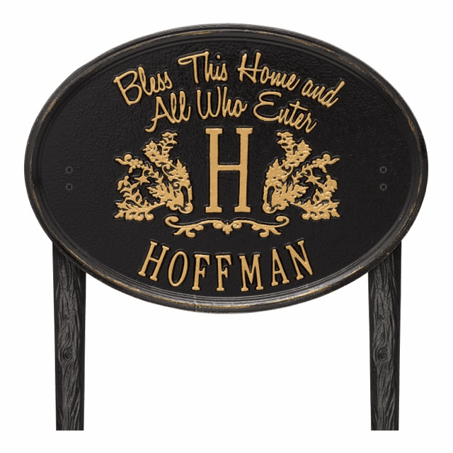 Bless This Home Monogram Oval Personalized Lawn Address Marker