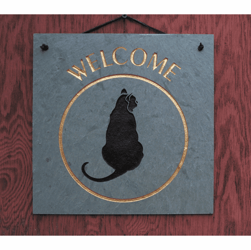 Cat Slate Welcome Sign