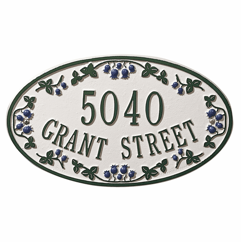 Catalina Blueberry Ceramic Style Oval Address Plaque