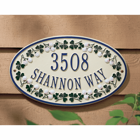 Catalina Clover Ceramic Style Oval Address Plaque