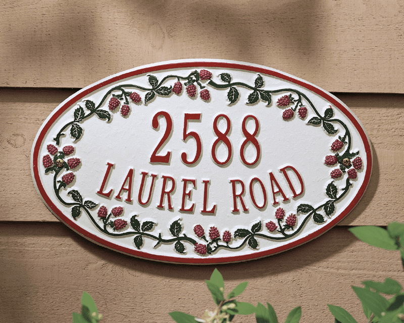 Catalina Raspberry Ceramic Style Address Plaque