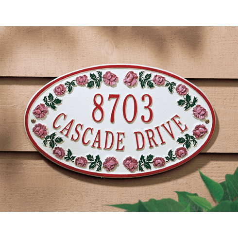 Catalina Rose Ceramic Style Oval Address Plaque