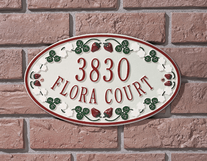 Catalina Strawberry Ceramic Style Address Plaque