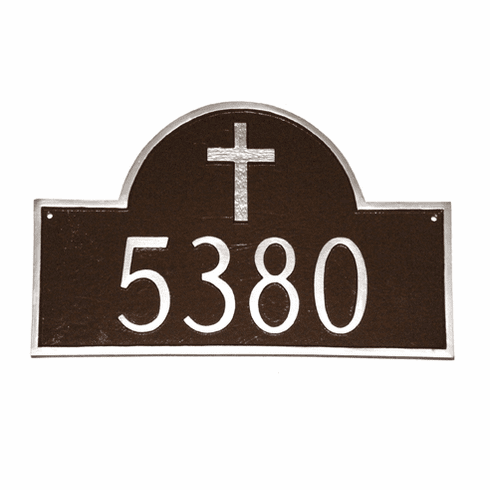 Classic Arch Address Plaque with Rugged Cross
