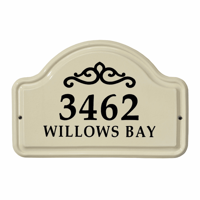 Classic Scroll Arch Two Line Standard Ceramic Address Plaque