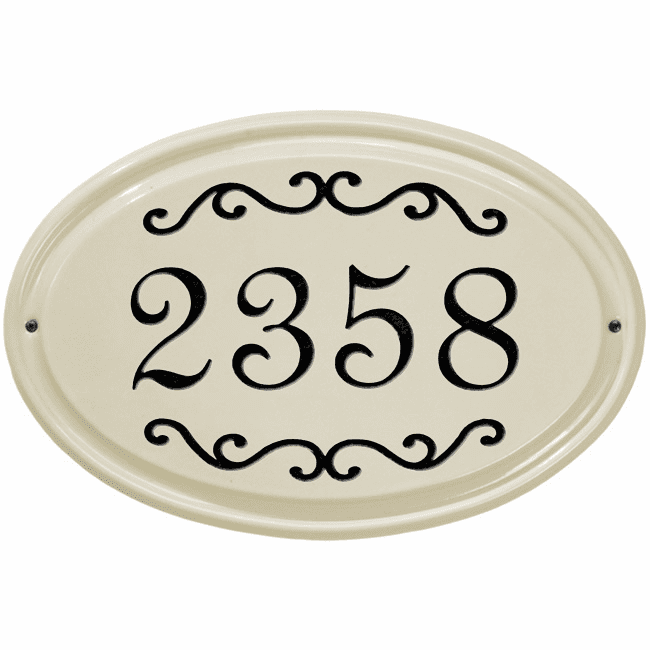 Classic Scroll Oval Ceramic One Line Address Plaque