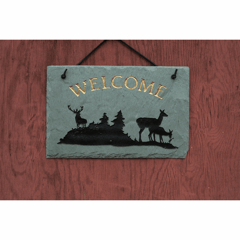 Deer Slate Welcome Sign