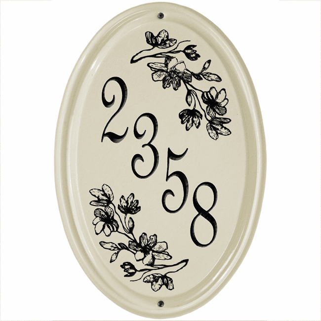 Dogwood Vertical Oval Ceramic Wall Address Plaque