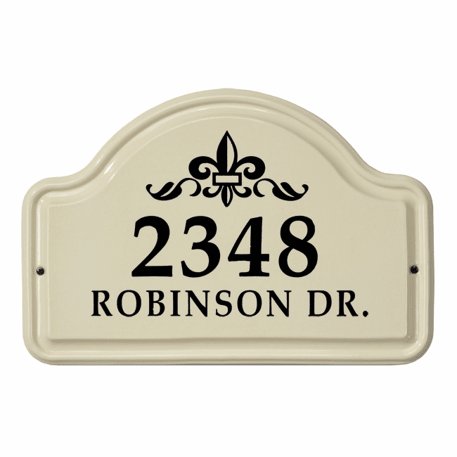Fleur De Lis Arch Two Line Standard Ceramic Address Plaque