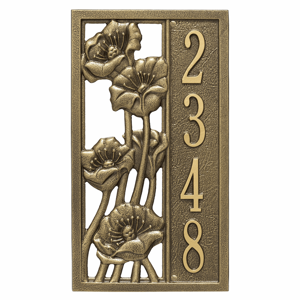 Flowering Poppies Vertical House Number Plaque