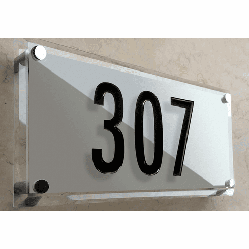 Frosted Beveled Crystal Number Address Plaque