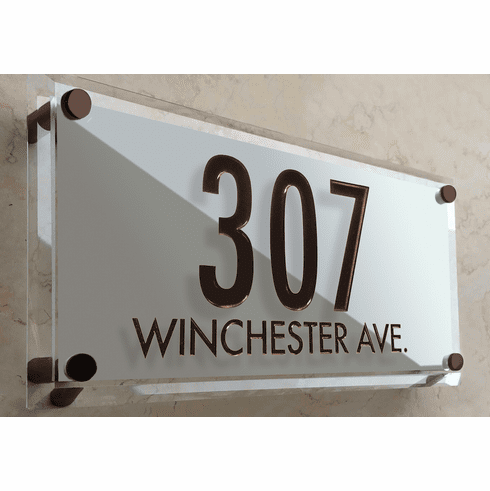 Frosted Beveled Crystal Two Line Address Marker