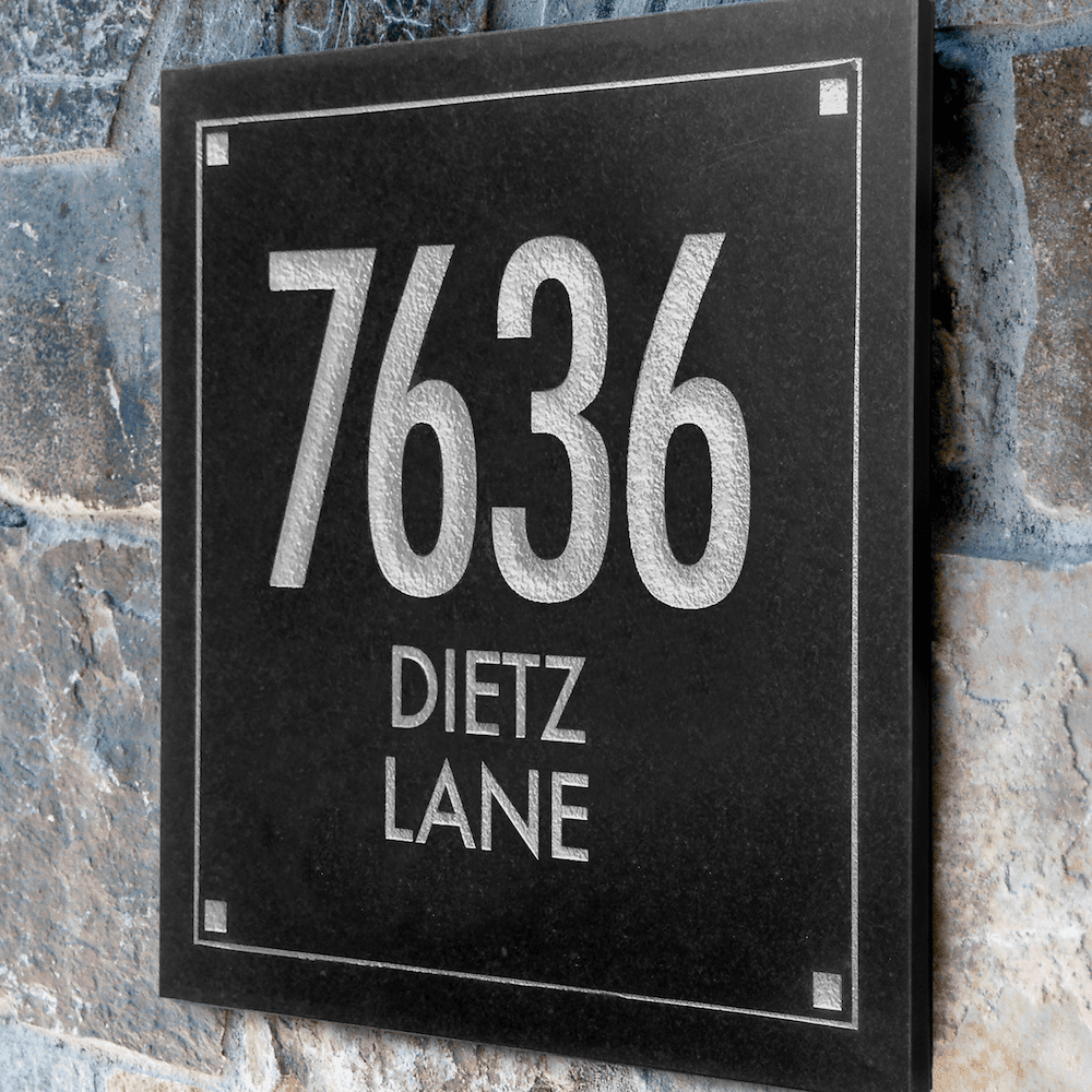 Granite Engraved Three Line Address Marker