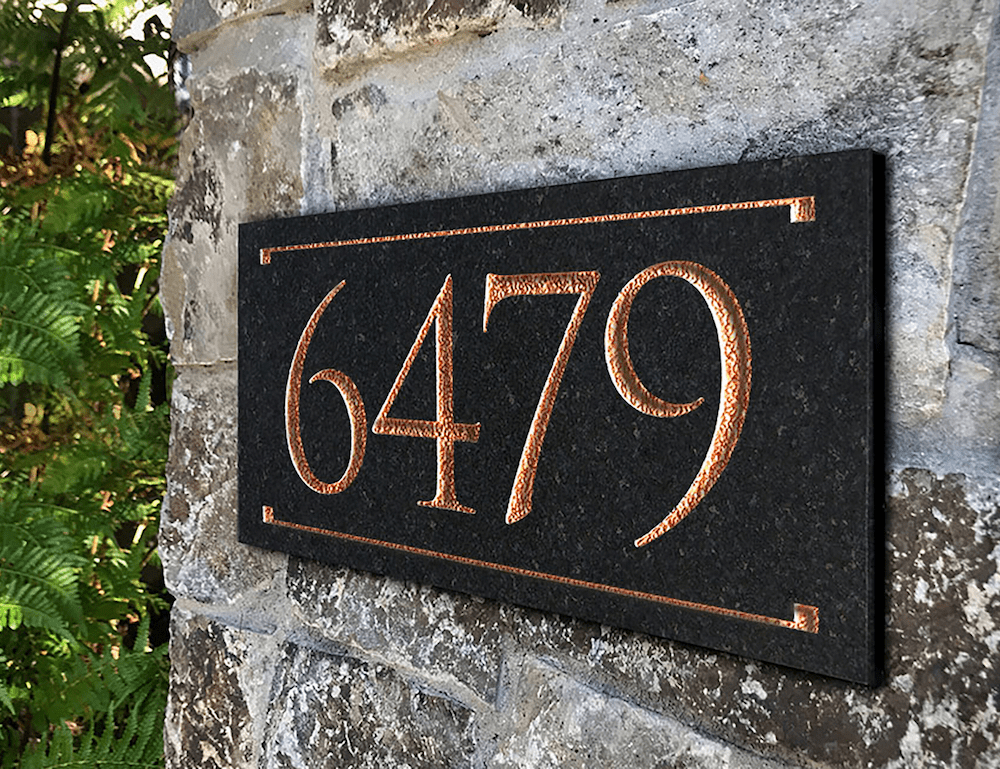 Granite Engraved Trajan Font House Number Sign