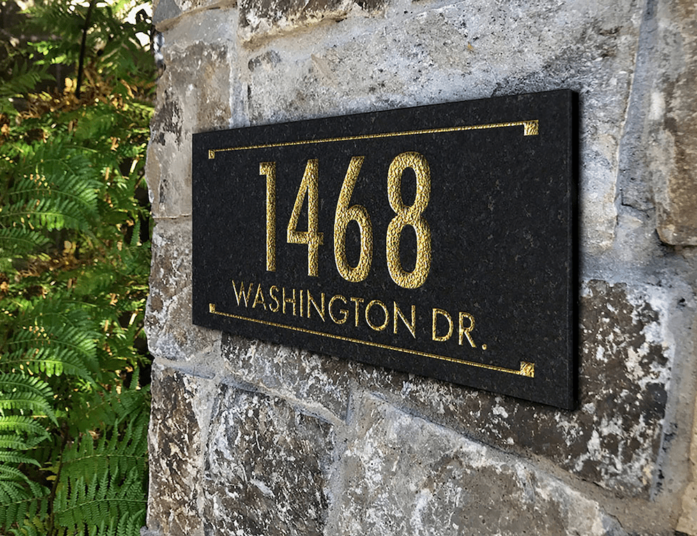 Granite Rectangle Engraved 2-line Address Sign