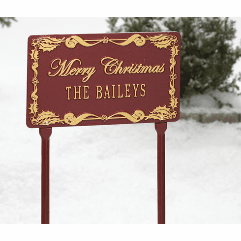 Holly Merry Christmas Plaque