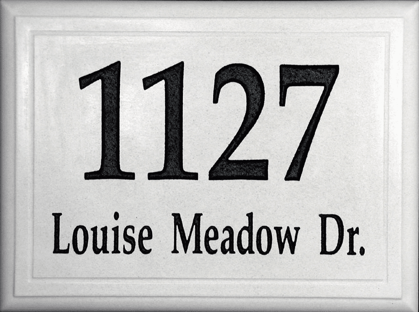 Large White Stone Address Plaque