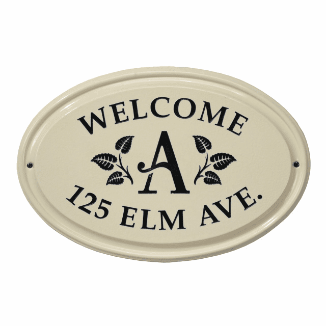 Leaf Monogram Oval Ceramic Three Line Address Plaque