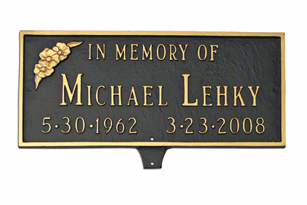 Memorial Plaque with Flower