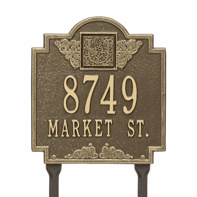 Monogram Personalized Two Line Lawn Address Sign
