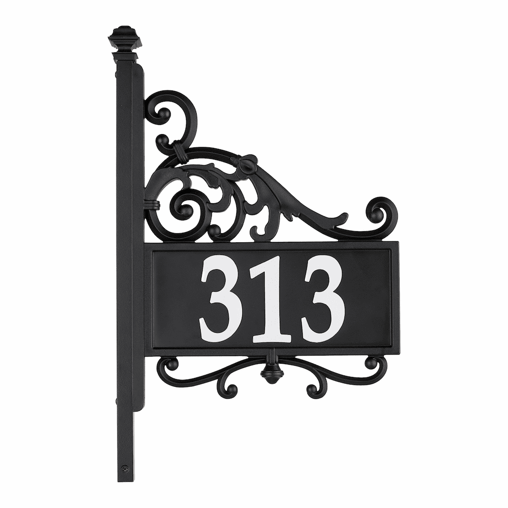 Nite Bright Reflective Acanthus House Number Address Post