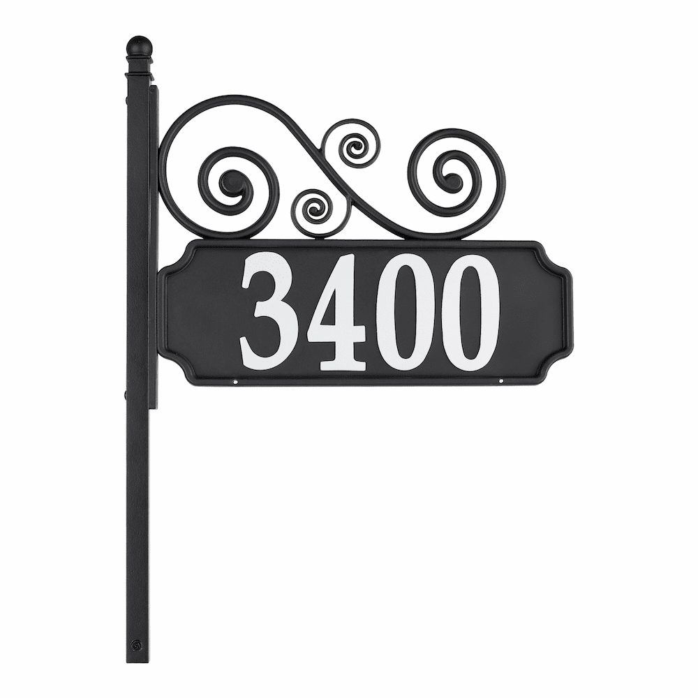 Nite Bright Scroll Reflective House Number Post Sign