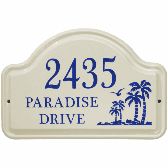 Palm Arch Ceramic Wall Address Plaque