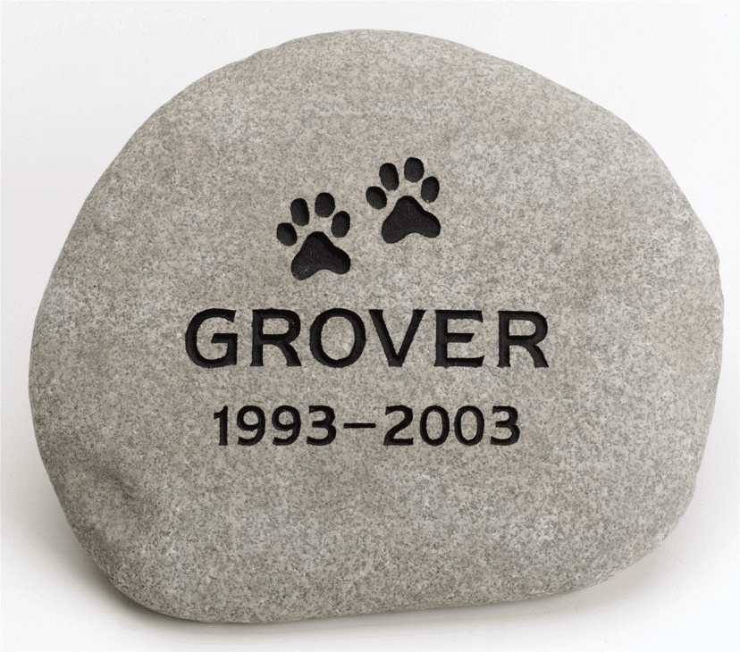 Pet Memorial Natural River Rock with Image
