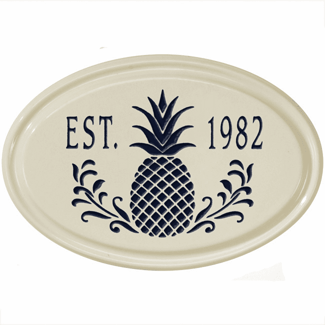 Pineapple Oval Ceramic Petite Wall Address Plaque