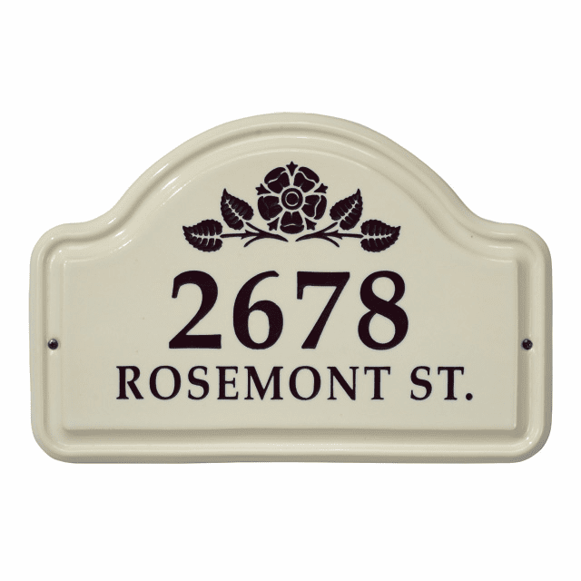 Rosette Arch Ceramic Two Line Wall Address Plaque