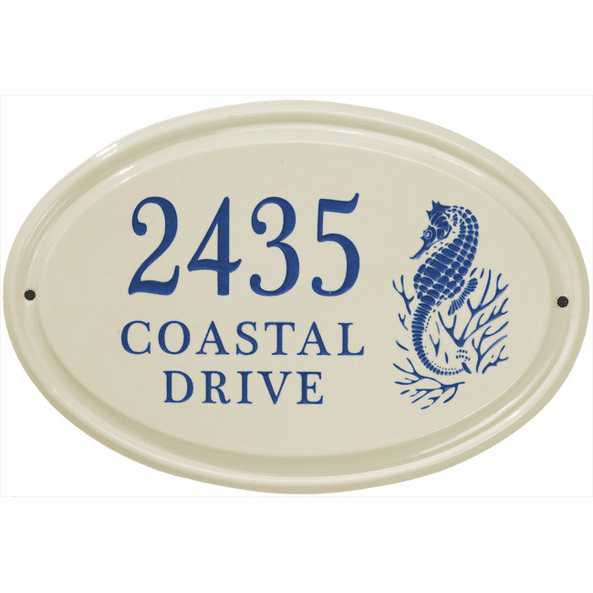Sea Horse Horizontal Oval Ceramic Three Line Wall Address Plaque