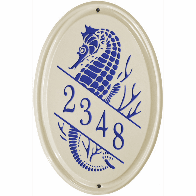 Sea Horse Vertical Oval Ceramic One Line Wall Address Plaque
